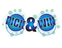 Pick and Win. Text for special promotional campagins Stock Photos