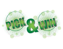 Pick and Win green. Green 'Pick and Win' text for special promotional campagins Royalty Free Stock Photos