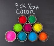 Pick your color concept with dyed powder and chalkboard Stock Photography