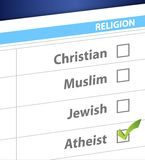 Pick your religion blue survey illustration Stock Photo