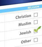 Pick your religion blue survey illustration. Design Royalty Free Stock Image