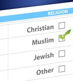 Pick your religion blue survey illustration Royalty Free Stock Photography