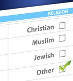 Pick your religion blue survey illustration Royalty Free Stock Photos