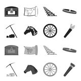 Pickax hoe, horse head, wheel cart, quiver with arrows.Wild west set collection icons in black,monochrome style vector. Symbol stock illustration Stock Photos