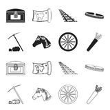 Pickax hoe, horse head, wheel cart, quiver with arrows.Wild west set collection icons in black,outline style vector. Symbol stock illustration Royalty Free Stock Photo