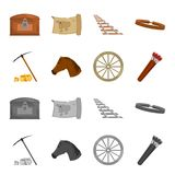 Pickax hoe, horse head, wheel cart, quiver with arrows.Wild west set collection icons in cartoon,monochrome style vector. Symbol stock illustration Stock Images