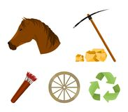 Pickax hoe, horse head, wheel cart, quiver with arrows.Wild west set collection icons in cartoon style vector symbol. Stock illustration Stock Photo