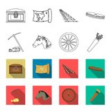 Pickax hoe, horse head, wheel cart, quiver with arrows.Wild west set collection icons in outline,flet style vector. Symbol stock illustration Royalty Free Stock Image