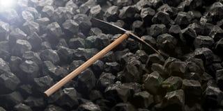 Pickaxe on black rocks background. 3d illustration Royalty Free Stock Image