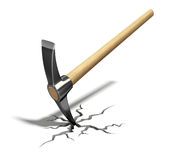 Pickaxe. In the cracked floor - 3D illustration Stock Photo