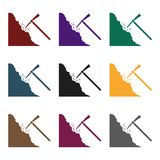 Pickaxe icon in black style isolated on white background. Mine symbol stock vector illustration. Royalty Free Stock Photo