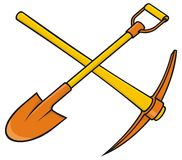 Pickaxe and shovel. Crossed yellow and orange pickaxe and shovel icon on white background Stock Photos