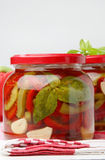 Pickeled green and red pepper in jar Royalty Free Stock Images