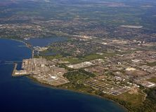 Pickering industrial aerial. Aerial view of the Nuclear Power plant on the shores of Lake Ontario in Pickering, Ontario Canada Royalty Free Stock Photos