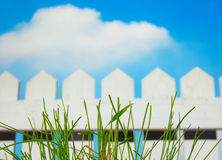 Picket fence. White picket fence and sky with green grass Stock Photos
