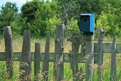 Picket Fence and Birdhouse. A rustic picket fence sits in a field of tall grasses with a blue birdhouse attached Royalty Free Stock Photo