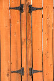 Picket fence. Knotted wooden picket fence and gate and hinges Stock Photos