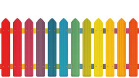 Picket Fence Rainbow Colors Stock Images