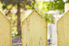 Picket Fence. View of a white weathered picket fence Stock Image