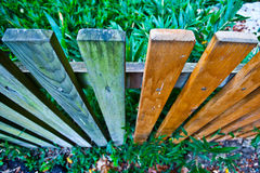 Picket Fences. New and old picket fences ahot from above royalty free stock photo