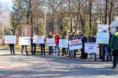 OBNINSK, RUSSIA - MARCH 26, 2017: Picket in support of Yuliya Samoylova, representative of Russia at the Eurovision-2017 contest stock photo