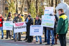 OBNINSK, RUSSIA - MARCH 26, 2017: Picket in support of Yuliya Samoylova, representative of Russia at the Eurovision-2017 contest royalty free stock image