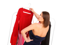 Picking clothes Stock Photo