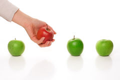 Picking different apple Stock Photography