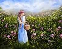 Picking flowers royalty free illustration