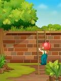 Picking fruit. Illustration of picking fruit in yard Stock Photos