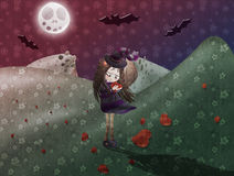 Picking heart flowers. Little witch picking heart flowers on halloween night Royalty Free Stock Image
