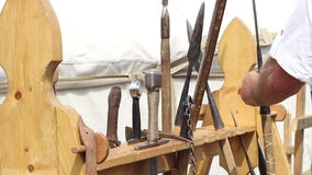 Picking Medieval Weapon stock video footage