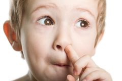 Picking nose. Fun looking eye cute human child face Stock Images