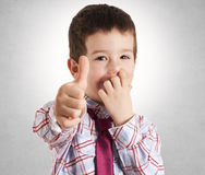 Picking nose and ok sign Stock Images