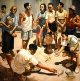 Picking Oil Painting by Tay Kok Wee Royalty Free Stock Photography