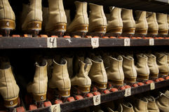 Picking out a pair of roller skates Royalty Free Stock Images