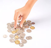 Picking Up Coins Royalty Free Stock Photography
