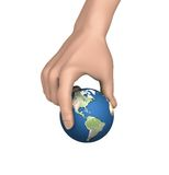 Picking up Earth. 3D rendered image of hand picking up the world between index finger and thumb royalty free illustration