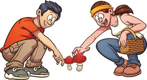 Picking up mushrooms. Young couple picking up mushrooms. Vector clip art illustration with simple gradients. Each element on a separate layer Royalty Free Stock Photos