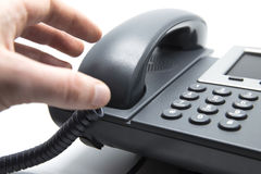 Picking up the phone Stock Images