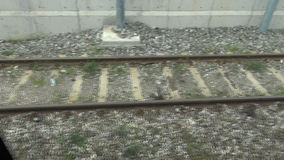 Picking up speed along train tracks. Video of picking up speed along train tracks stock footage