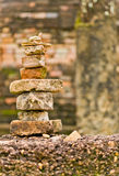 Picking up things restlessly. The pile of old bricks which are overlaid by tourists in Sukhothai Historic Park, Thailand Royalty Free Stock Photos