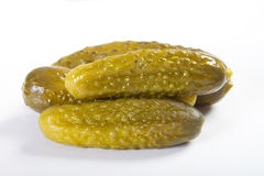 Pickle. Closeup of dill pickle on white Royalty Free Stock Image