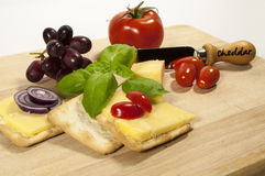 Pickle,cheese and cracker display Stock Image