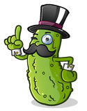 Pickle Gentleman Cartoon Character. A proper english gentleman pickle with a handlebar mustache, pointing a finger in the air and wearing a top hat, monocle and Royalty Free Stock Photos