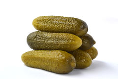 Pickle gherkins. Healthy pickle cucumbers stack on white background Royalty Free Stock Photo