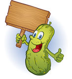 Pickle Holding a Sign Royalty Free Stock Images