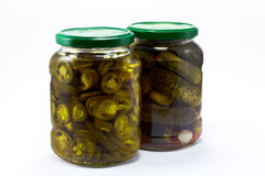 Pickle and jalapeno jar Royalty Free Stock Image