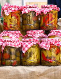 Pickle in jar. Homemade pickled vegetables in jar Royalty Free Stock Photography