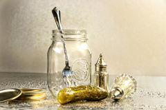 Pickle with a jar. And antique salt and pepper shakers Stock Images
